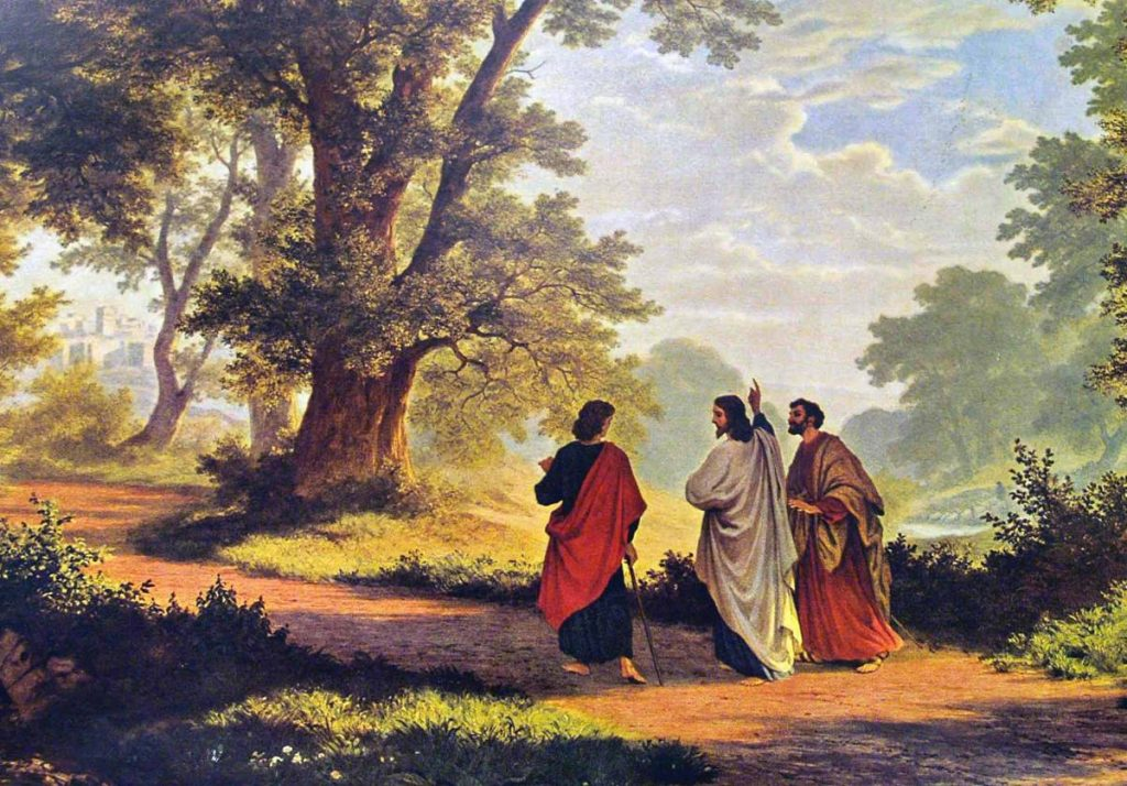 painiting of jesus with disciples on road to emmaus